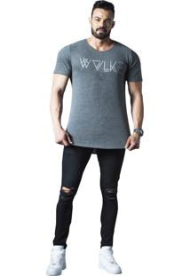 Camiseta Wolke Oversized Básica Cinza