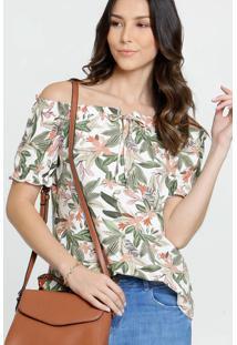 Blusa Feminina Ombro A Ombro Estampa Tropical