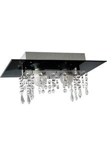 Plafon De Vidro Com Cristal Para 02 Lâmpadas - Aceita Lâmpadas De Led - Preto