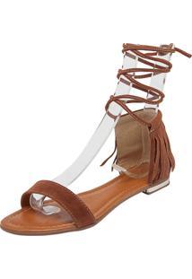 Rasteira Dafiti Shoes Amarração Franjas Caramelo