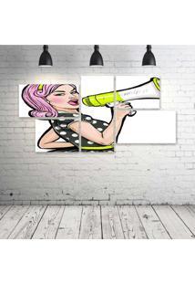 Quadro Decorativo - Megaphone-Girl - Composto De 5 Quadros - Multicolorido - Dafiti