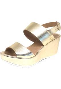 Sandália Osmoze Plataforma Tiras - Feminino-Dourado