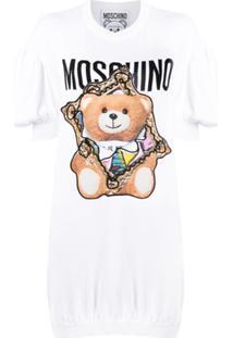 Moschino Vestido De Tricô Com Estampa Teddy - Branco