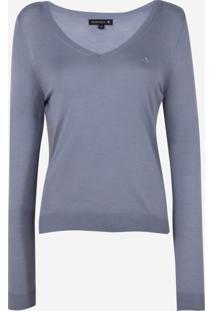 Suéter Dudalina Clássico Gola V Tricot Feminino (Azul Claro, G)