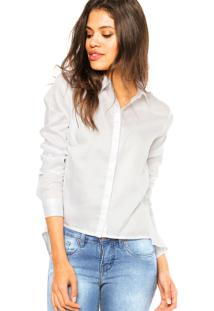 Camisa Manga Longa Calvin Klein Jeans Bolsos Branca