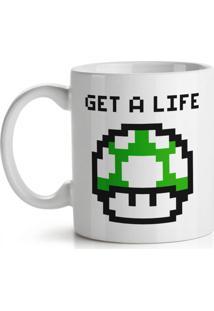 Caneca Cogumelo Pixel Get A Life Geek10 Branco