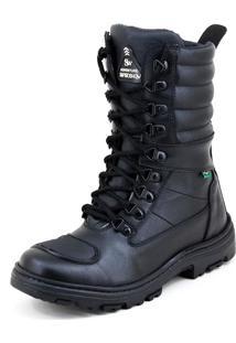 Bota Coturno Sw Shoes Motociclista Recortes Preta