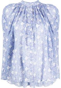 Isabel Marant Blusa Emsley Floral Com Textura - Azul