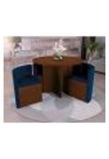 Sala De Jantar Nira Com 4 Cadeiras Kappesberg Walnut/Azul Marinho
