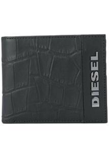 Diesel Carteira Dobrável Com Efeito De Pele De Crocodilo - Preto