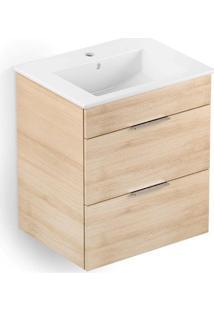 Gabinete Integrado Em Mdf Para Banheiro Com Lavatório Cube 65X43Cm Com 2 Gavetas Carvalho