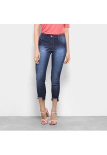 Calça Jeans Cigarrete Coca-Cola Barra Desfiada Cintura Média Feminina - Feminino-Azul Escuro