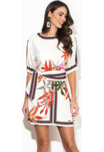 Vestido Linho Curto Estampado Branco