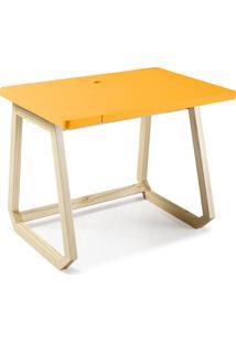 Escrivaninha Com Organizador Interno Hush 1041 Natural/Amarelo - Maxima