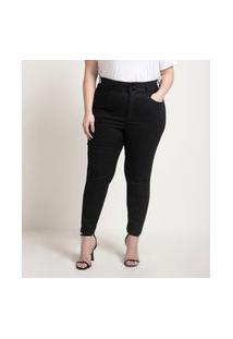 Calça Skinny Jeans Resinada Curve & Plus Size Preto