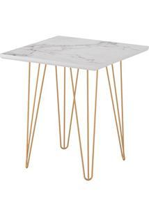 Mesa Lateral Quadrada 45 Carrara Pé De Ferro Dourado-Líder Design