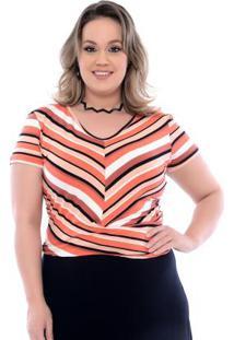 Blusa Listras Laranja Plus Size