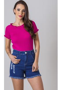 Blusa Manga Curta De Tricot Verão Malhas G'Dom Rosa Pink Canelada