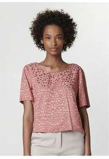 Blusa Feminina Modelagem Box Em Viscose Jacquard Rosa