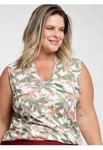 Blusa Feminina Tropical Plus Size Sem Mangas