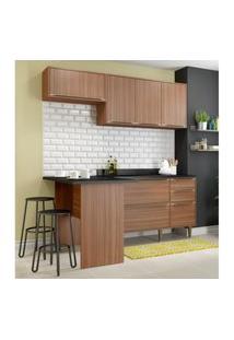 Cozinha Completa Multimóveis Com 5 Peças Calábria 5460 Nogueira