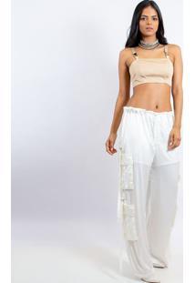 Blusa Cropped Com Fivela- Bege- Caoscaos