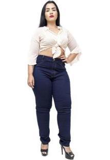 Calça Jeans Cambos Plus Size Skinny Sonarai Feminina - Feminino-Azul