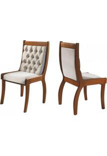 Cadeira Para Mesa De Jantar Pérola Kit Com 2 Unidades Imbuia/Liso Bege Mobillare Decorações Móveis
