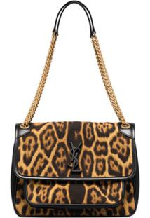 Saint Laurent Medium Niki Leopard Print Shoulder Bag - Marrom