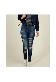 Calça Jeans Destroyed Feminina Skinny Bolsos