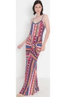Vestido Longo Com Torção- Laranja & Azul- Malweemalwee