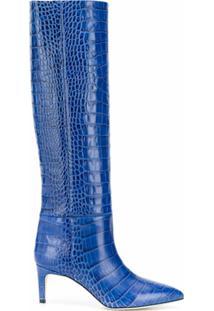 Paris Texas Bota De Couro Com Efeito De Pele De Crocodilo Com Salto 75Mm - Azul