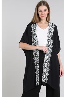 Kimono Feminino Com Estampa De Arabescos E Fendas Manga Curta Preto