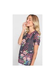 Camiseta Cantão Floral Preta/Rosa