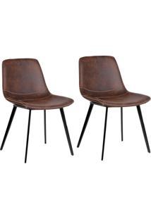 Conjunto Com 2 Cadeiras De Jantar Teini Pernas Em Metal Marrom