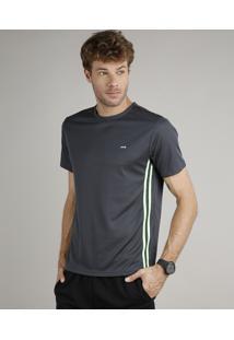Camiseta Masculina Esportiva Ace Com Listras Manga Curta Gola Careca Verde Escuro