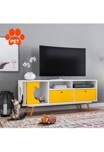 Rack Retrã´ Pet Angora Branco E Amarelo 136 Cm