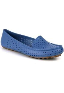 Mocassim Tag Shoes Pvc Colors Feminino - Feminino-Azul