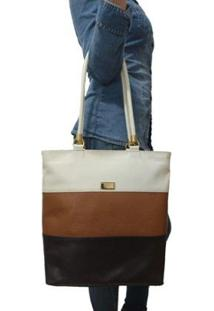 Bolsa Sacola Topgrife Shopper Couro Multicolorido Feminina - Feminino-Preto+Marrom