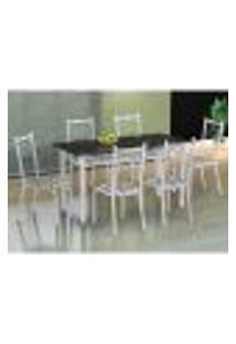 Conjunto De Mesa Com 6 Cadeiras Lisboa Branco E Branco Floral