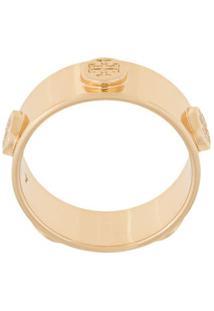 Tory Burch Anel Com Logo - Dourado