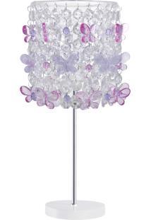 Abajur Infantil Carambola Butterfly 02 Rosa E Lilás