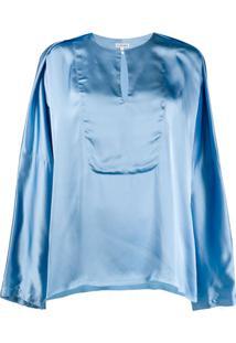Loewe Blusa Túnica Com Drapeado - Azul