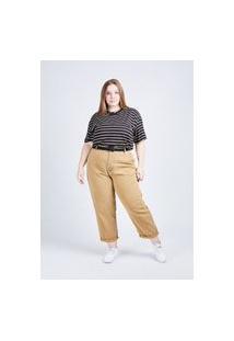 Camiseta Listrada Preta Gang Plus Size Feminina