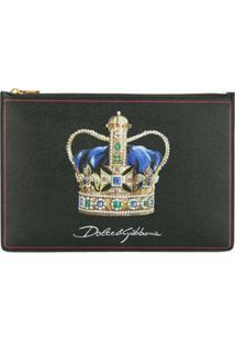 Dolce & Gabbana Clutch Crown Com Logo - Preto