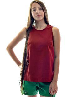 Blusa De Linho Alfaiataria Bordã´ - Vermelho - Feminino - Linho - Dafiti