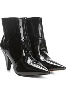 Bota Cano Curto Shoestock Salto Cone Feminina - Feminino-Preto