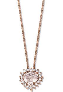 Pingente Ouro Rosã© Quartzo Rosa E Diamantes