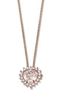 Pingente Ouro Rosé Quartzo Rosa E Diamantes