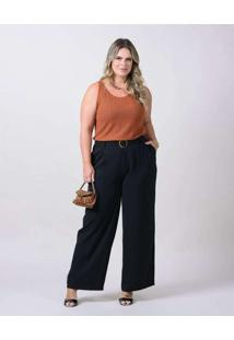 Calça Pantalona Almaria Plus Size New Umbi Com Cin